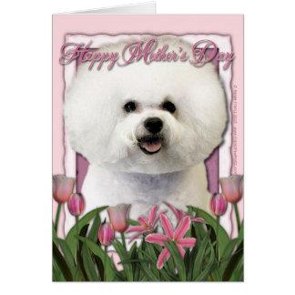 Tarjeta Día de madres - tulipanes rosados - Bichon Frise