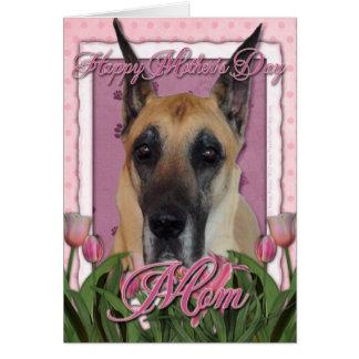 Tarjeta Día de madres - tulipanes rosados - great dane