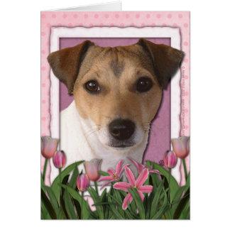 Tarjeta Día de madres - tulipanes rosados - Jack Russell