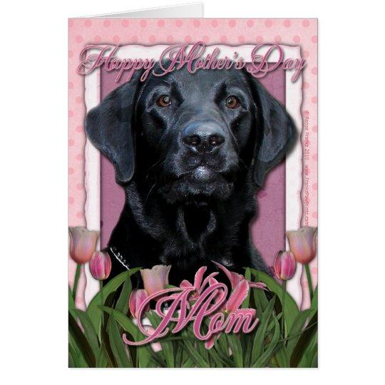 Tarjeta Día de madres - tulipanes rosados - Labrador -