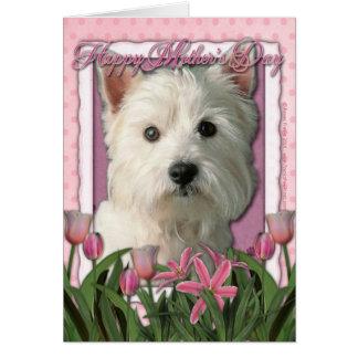 Tarjeta Día de madres - tulipanes rosados - montaña del