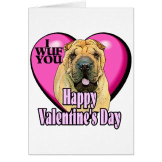 Tarjeta Día de San Valentín de Shar-pei del chino