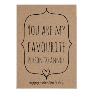 Tarjeta Día de San Valentín divertido del corazón lindo