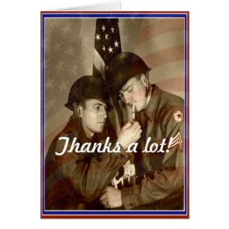 Tarjeta ¡Día de veteranos del vintage, gracias mucho! -