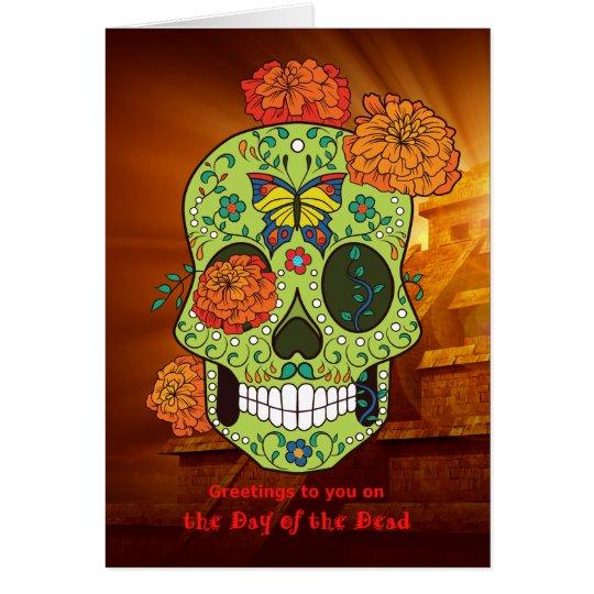 Tarjeta Día del cráneo y de las flores muertos del azúcar