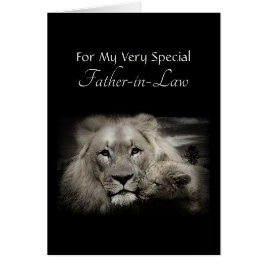 Tarjeta Día del papá del león y de padre de Cub para el