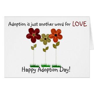 Tarjeta día feliz de la adopción