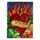 Tarjeta Día llameante del corazón de Amor del diseño de