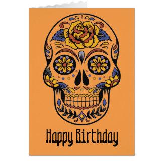 Tarjeta Día mexicano del cráneo del cumpleaños muerto