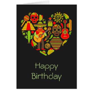 Tarjeta Día mexicano del cumpleaños muerto de México