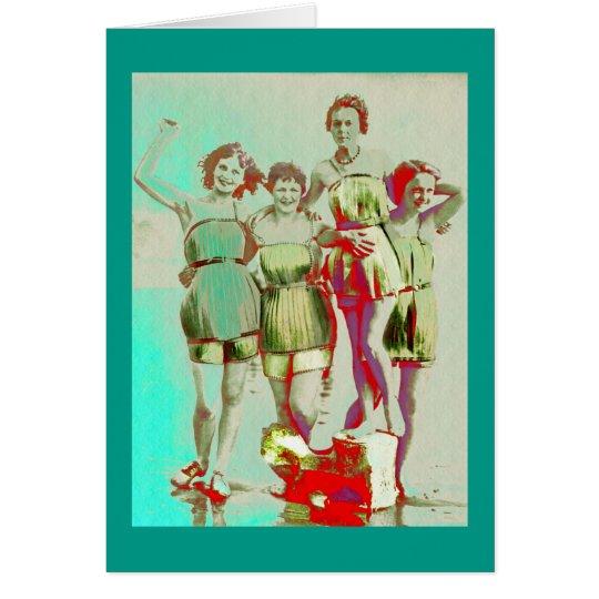 Tarjeta Día retro de los chicas en la playa