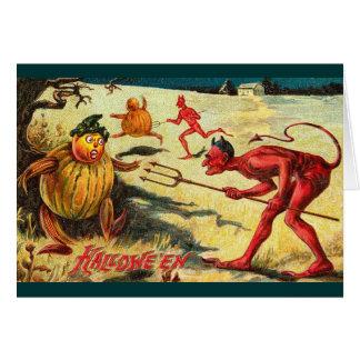 Tarjeta ¡Diablos del vintage que persiguen los Goblins,