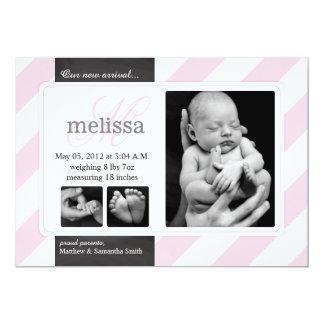 Tarjeta diagonal rosada de la foto de la invitación 12,7 x 17,8 cm
