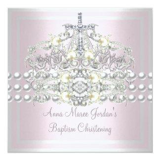 Tarjeta Diamante blanco de la perla de la plata rosada de