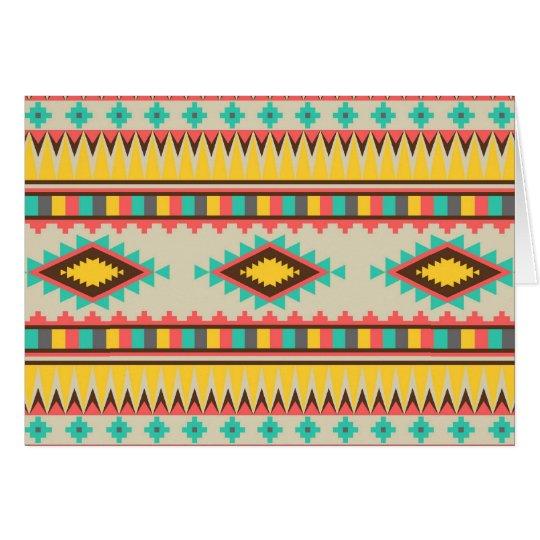 Tarjeta Diamantes tribales aztecas coloridos del nativo