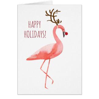 Tarjeta Días de fiesta divertidos del flamenco de Rudolph
