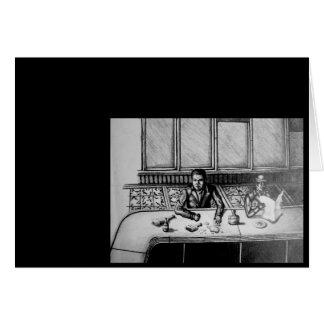 Tarjeta dibujada mano de la escena de la barra