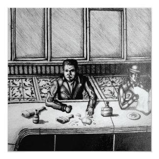 Tarjeta dibujada mano de la escena de la barra invitación 13,3 cm x 13,3cm