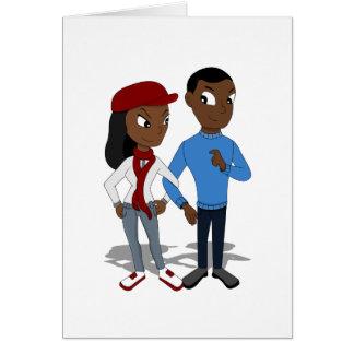 Tarjeta Dibujo animado afroamericano de encargo de los