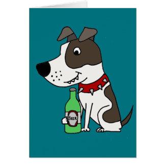 Tarjeta Dibujo animado de consumición de la cerveza del