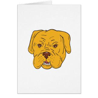 Tarjeta Dibujo animado de la cabeza de perro de Burdeos