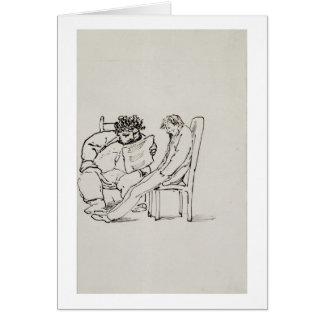 Tarjeta Dibujo animado de William Morris (1834-96) que lee