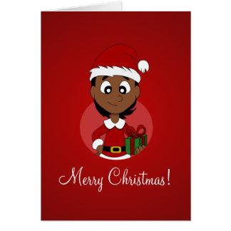 Tarjeta Dibujo animado del chica del navidad
