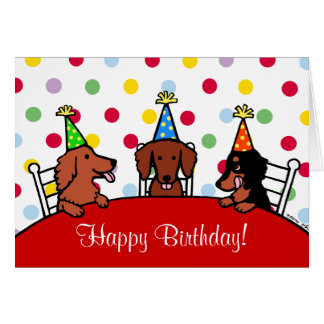 Tarjeta Dibujo animado del cumpleaños del Dachshund