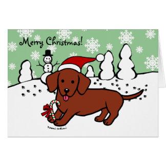 Tarjeta Dibujo animado del navidad del Dachshund