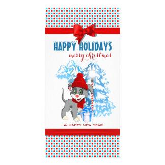 Tarjeta Dibujo animado del navidad del perrito de la nariz