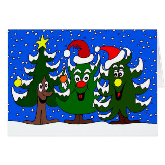 Tarjeta Dibujo animado divertido de los árboles de navidad