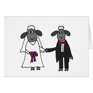 Tarjeta Dibujo animado divertido del boda de las ovejas