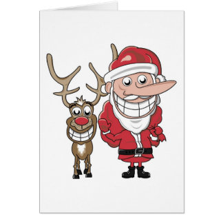 Tarjeta Dibujo animado divertido Santa y Rudolph