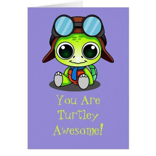 Tarjeta Dibujo animado lindo Turtley de Chibi