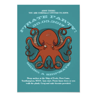 Tarjeta Dibujo animado rojo feroz de los tentáculos del