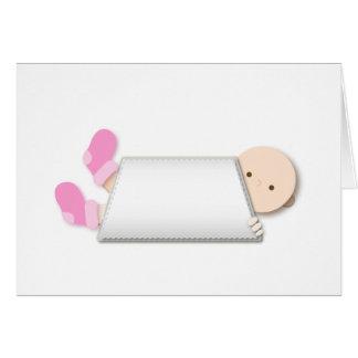 Tarjeta Dibujo animado rosado de los botines del bebé del