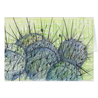 Tarjeta Dibujo de la planta del cactus del desierto de