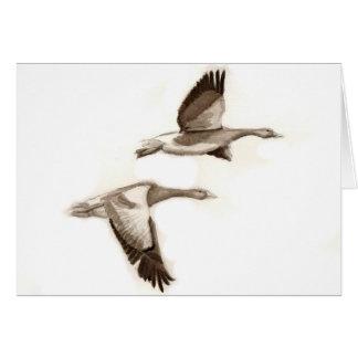 Tarjeta Dibujo de los gansos del vuelo
