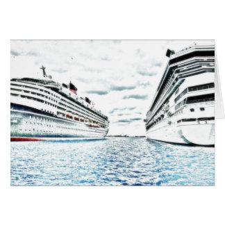 Tarjeta Dibujo del barco de cruceros