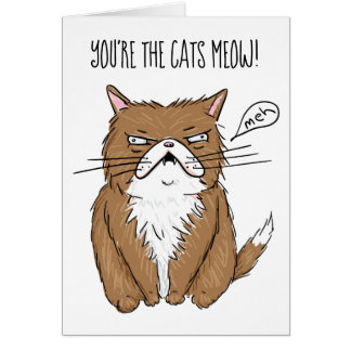 Tarjeta Dibujo gruñón divertido del gato de Meh
