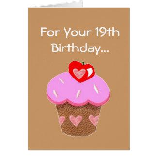 Tarjeta Diecinueveavo cumpleaños de la magdalena divertida