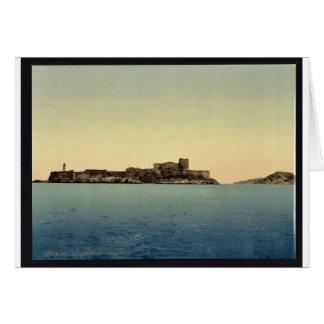 Tarjeta d'If del castillo francés, del mar, vin de