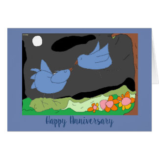 Tarjeta ¡Diga el aniversario feliz con los pájaros del