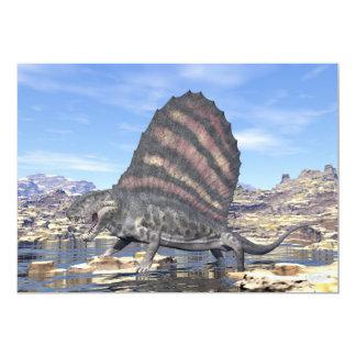 Tarjeta Dimetrodon que se coloca en una charca en el
