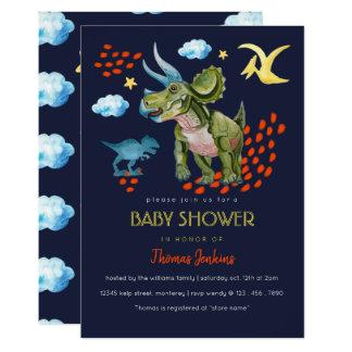 Tarjeta Dinosaur in watercolor Baby Shower invite.