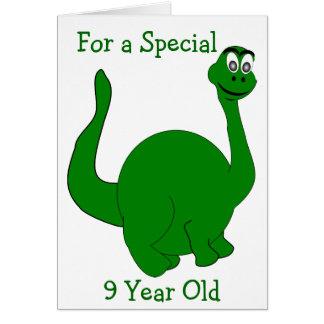 Tarjeta Dinosaurio cumpleaños de 9 años