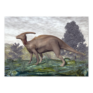 Tarjeta Dinosaurio de Parasaurolophus entre árboles del