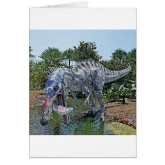 Tarjeta Dinosaurio de Suchomimus que come un tiburón en un