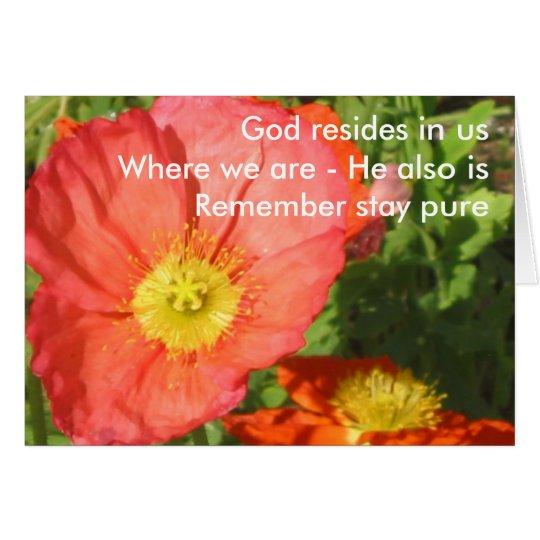Tarjeta Dios reside/amapola
