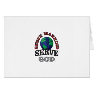 Tarjeta dios y humanidad del servicio del globo